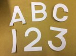 "Number plate numbers / letters front (1 3/4"" high)"